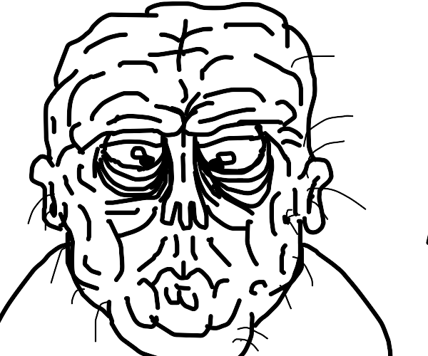 Wrinkly old man face