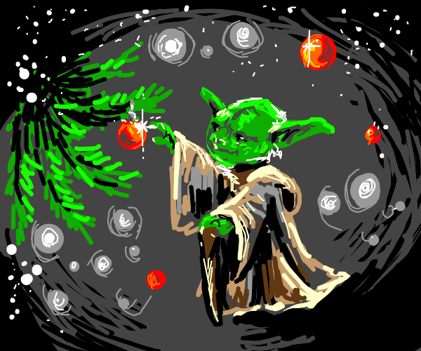 Yoda touching a red ball