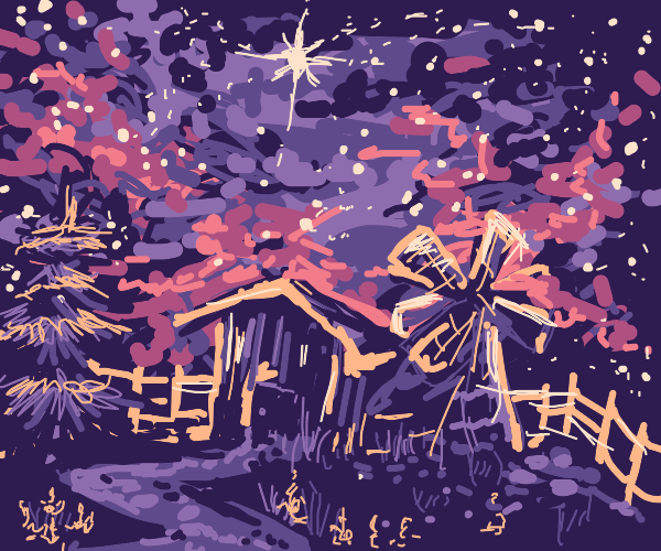 Starry Sky Over Farm