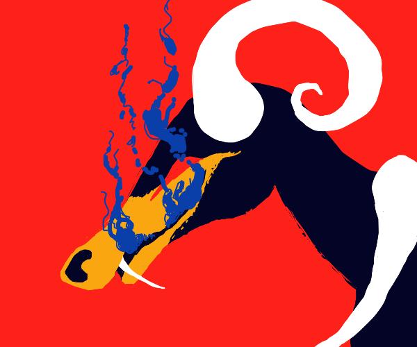 Houndoom breathing blue fire