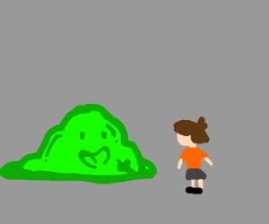 Slime trying to teach a girl how to be happy