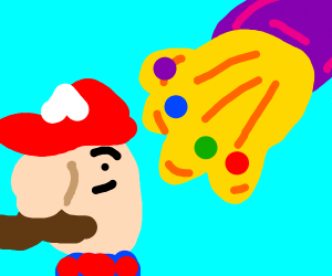 Super Mario flipping off Thanos