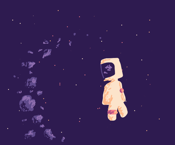 A cubed astronaut admiring the astroid belt