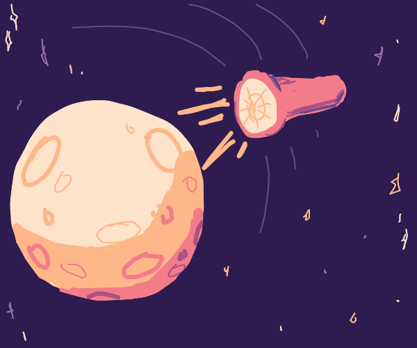 A torch orbiting the moon sending signals