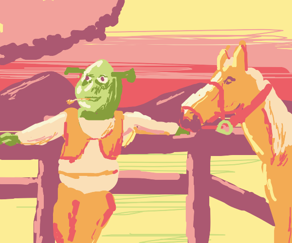 shrek hanging out with a horse