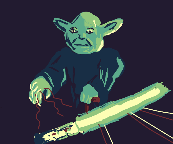 yoda using the force on his ''lightsaber''