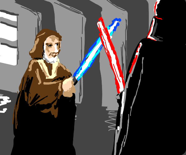 darth vader and obi wan fighting
