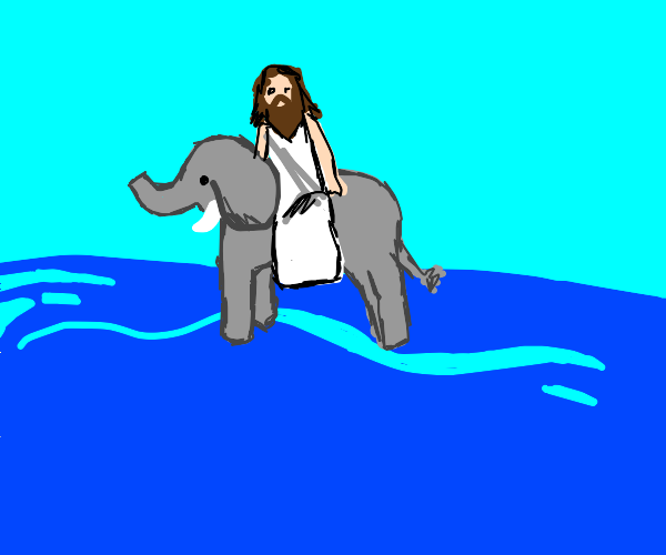 jesus riding an elephant on the ocean