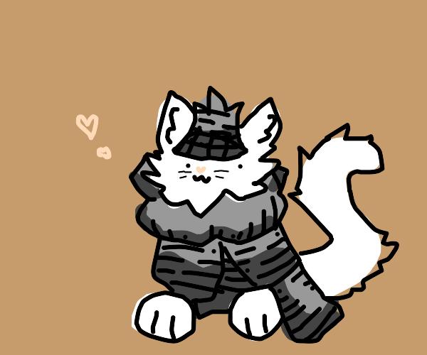 Cat in full plate armor