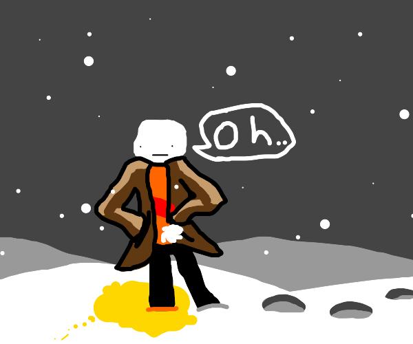 guy standing on yellow stuff