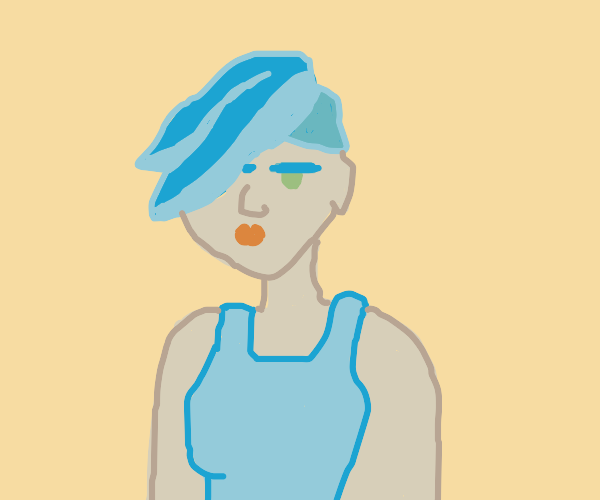 emo lady with blue hair