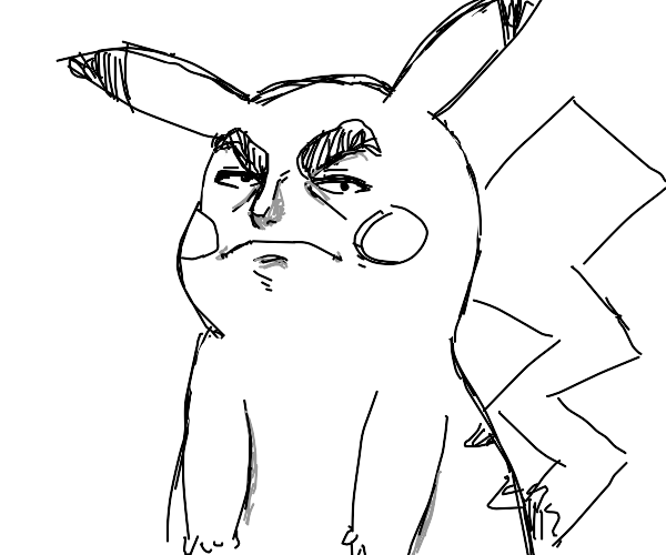 incredibly detailed anime faced pikachu