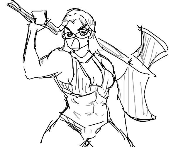 Deranged warrior woman