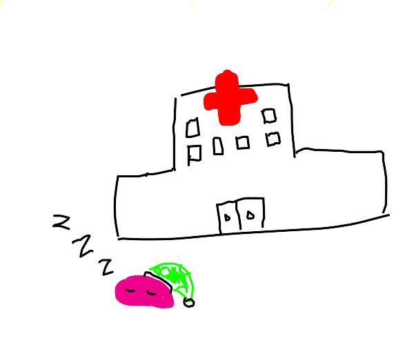 kirby fell asleep outside of a hospital