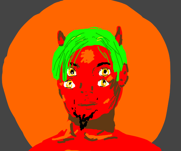 Satan with four eyes and green hair