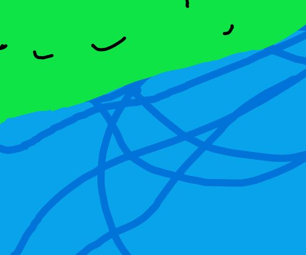 Skidmarks on a blue road