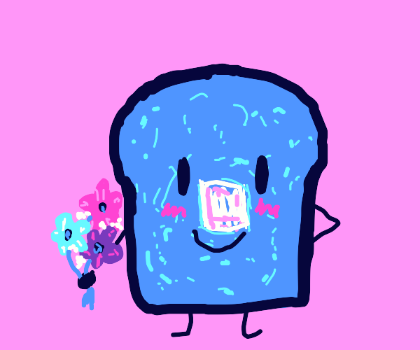 blue toast holding flowers