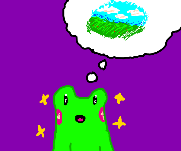 A frog thinking about a boundless field