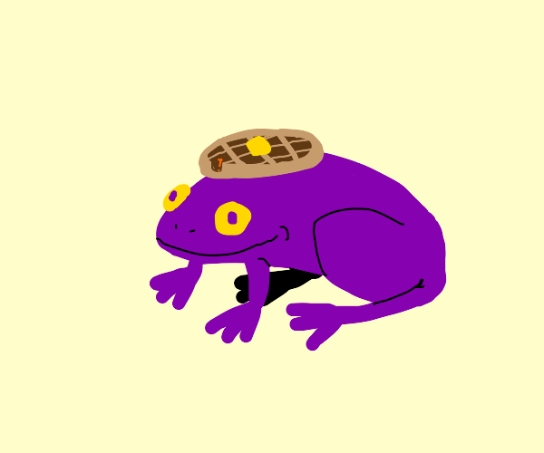purple frog with waffle hat
