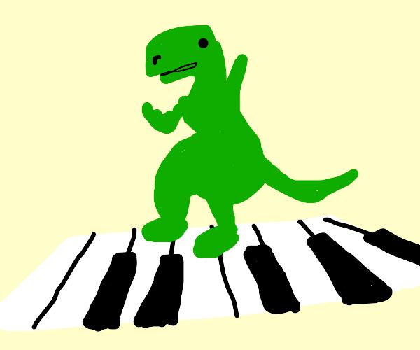 Dinosaur playing piano