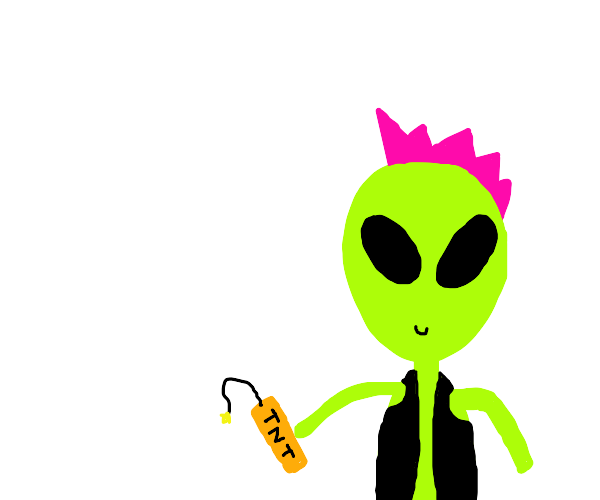 Punk alien creates explosion