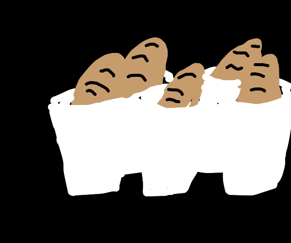 numerous bread loaves in numerous cups