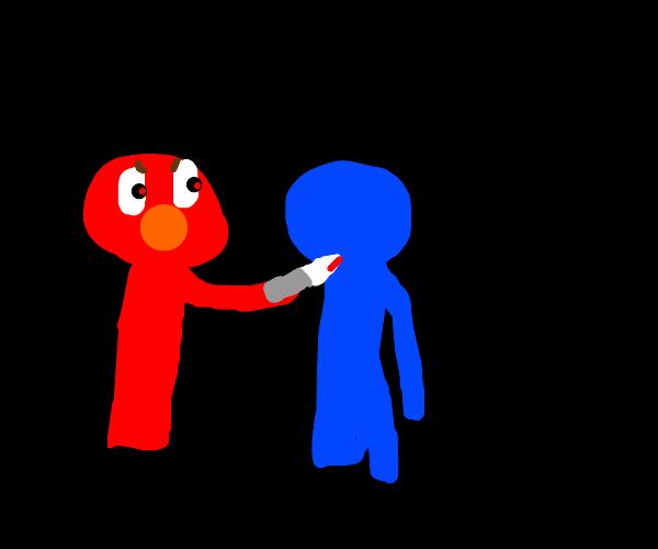 Elmo stabs cookie monster