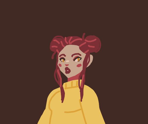 Girl with hair buns