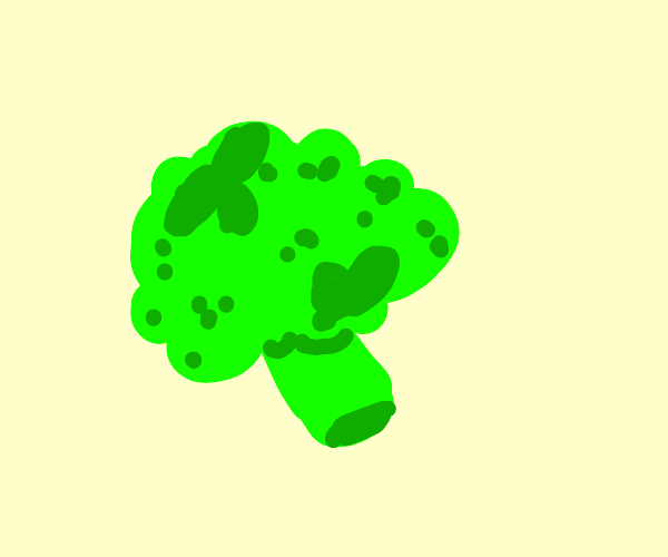 A single piece of broccoli.