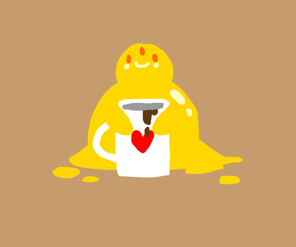 3-eyed yellow slime offers you hot coccoa