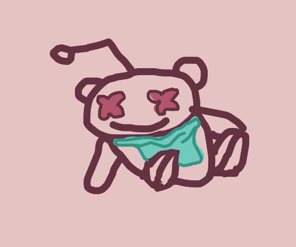 Dead reddit logo wearing a blue bib