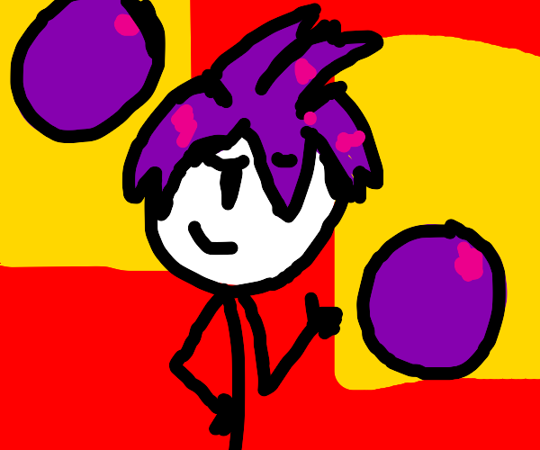 Man with purple hair and purple bubbles.