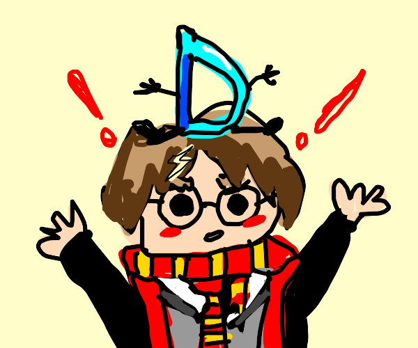 Harry Potter with blue D on head