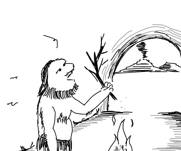 Caveman discovers stick