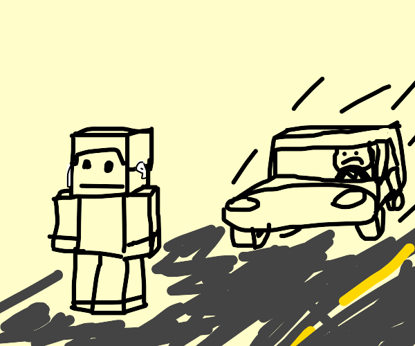 minecraft guy about to be run over by car