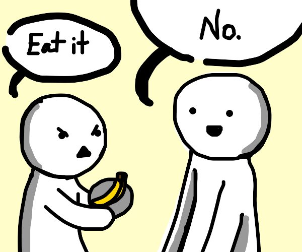 Man refuses to eat the banana