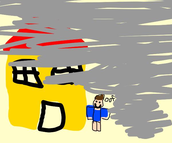 tornado approaches pantsless roblox mans home