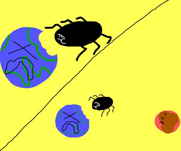 Bug eats Earth, looks at Mars