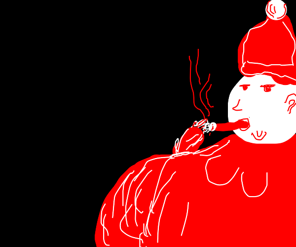 Santa Claus smoking a really big cigar