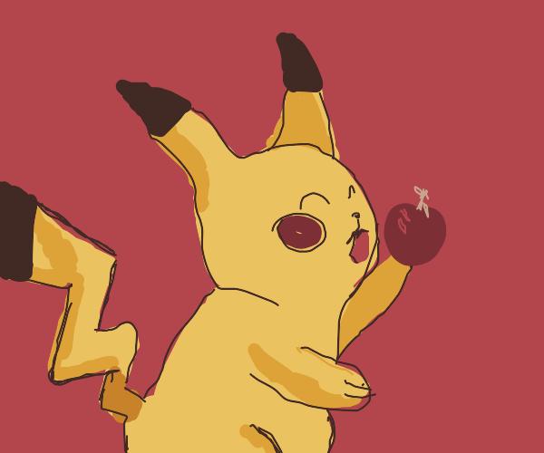 mandela effect pikachu eating pokemon food