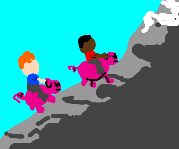 two guys riding pigs far away on a mountain