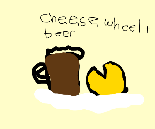 beer and cheese wheel on plate