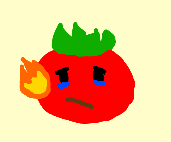 tomato on fire