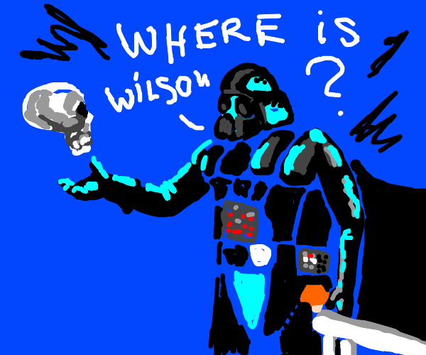darth vader asking a skeleton where wilson is