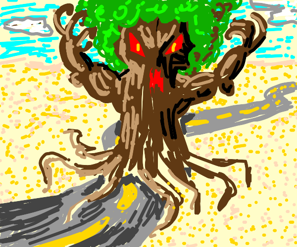 road going into an angry tree