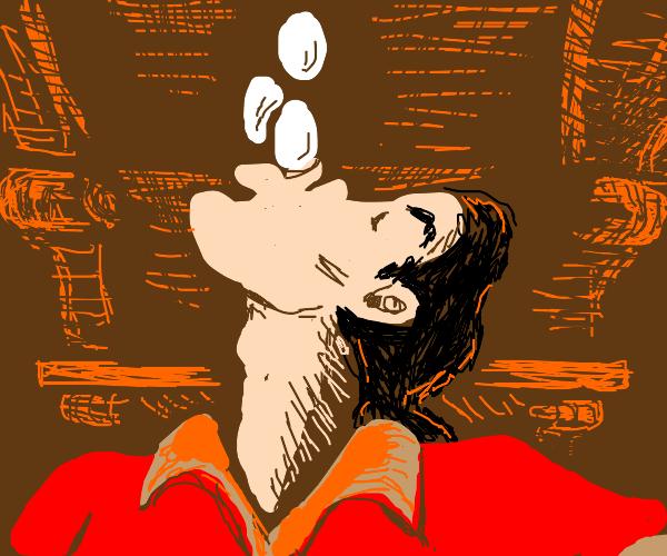 Gaston eating eggs