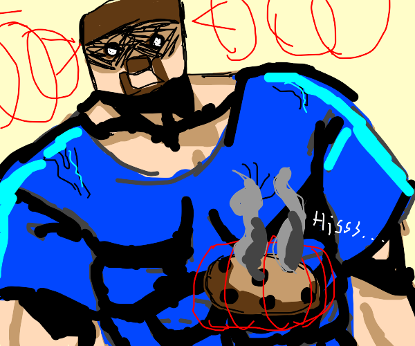 Muscular Minecraft Man breaks cookies w/ mind