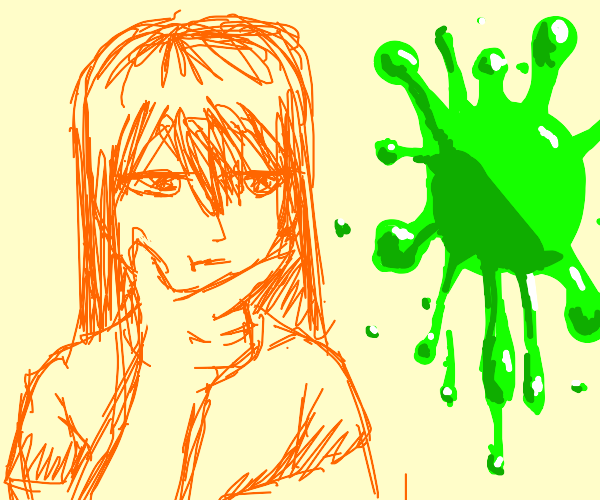 orange girl looks at a green paint slatter
