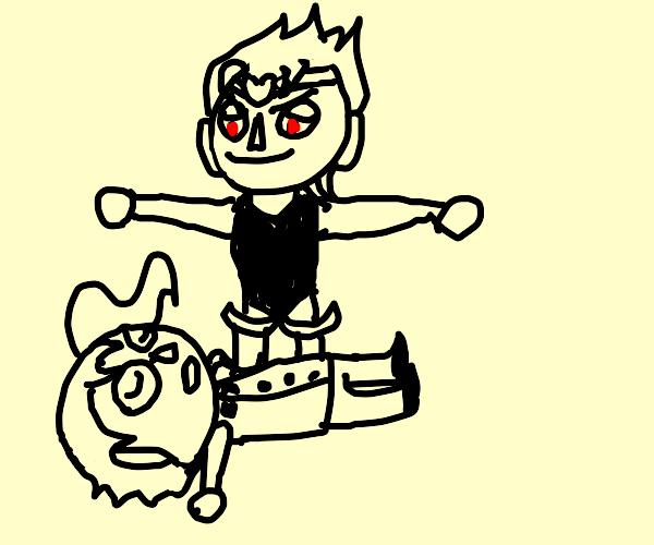 Dio murdering Kakyoin in Animal Crossing