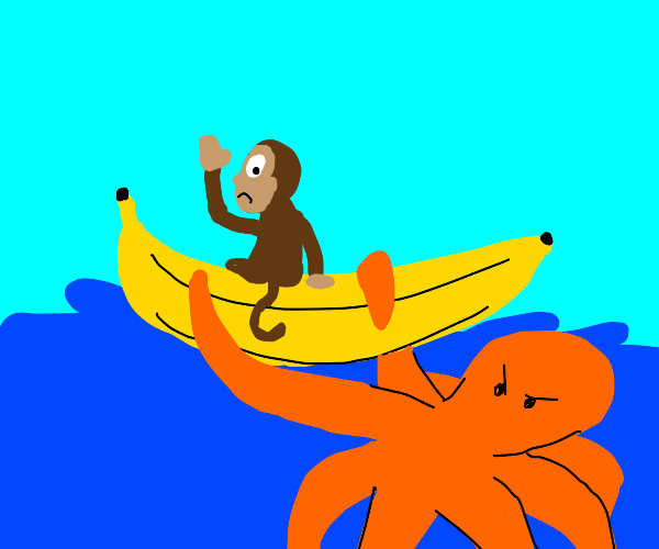 Octopus attacks banana boat